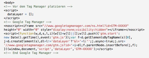 Beispiel zur Initialisierung der dataLayer-Variable und Einbau des Google Tag Managers