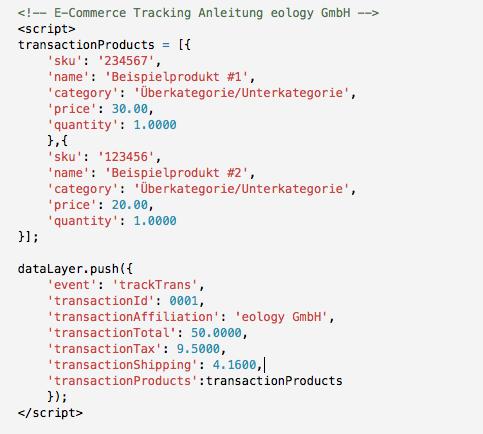 Anordnung und Aufbau der dataLayer-Variable