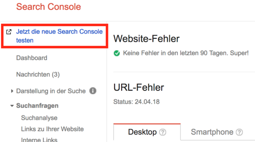 Ansicht alte Search Console