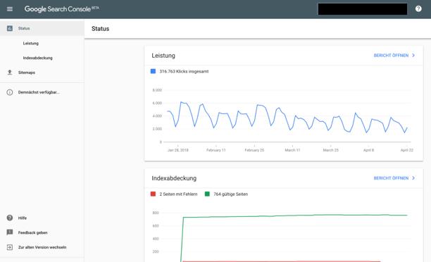Ansicht neue Google Search Console