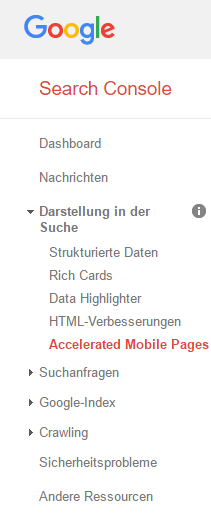 Abbildung 1: AMP-Statusbericht der Google Search Console