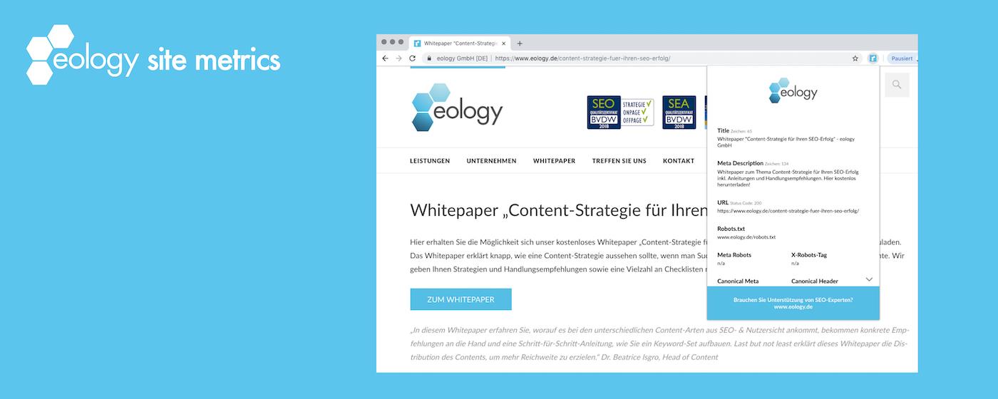 eology site metrics