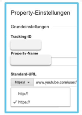 Standard-URL-Einstellung auf Google-Analytics
