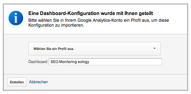 Installation des Dashboards in Google Analytics