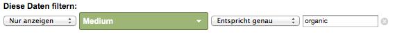 Die Widgets im Dashboard enthalten nur Daten aus dem organischen Bereich von Google (Auszug aus einer Widgetkonfiguration)