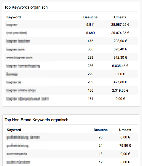 Ansicht der Top SEO Keywords