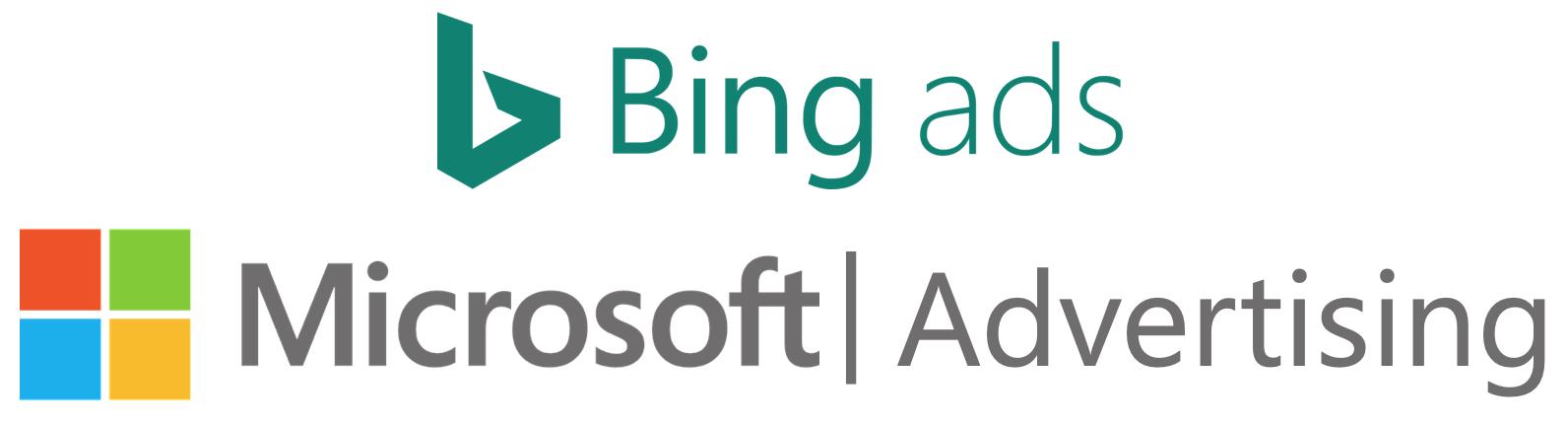 Das Bild zeigt die Darstellung des ursprünglichen Bing Ads Logos und des neuen Microsoft Advertising Logos.