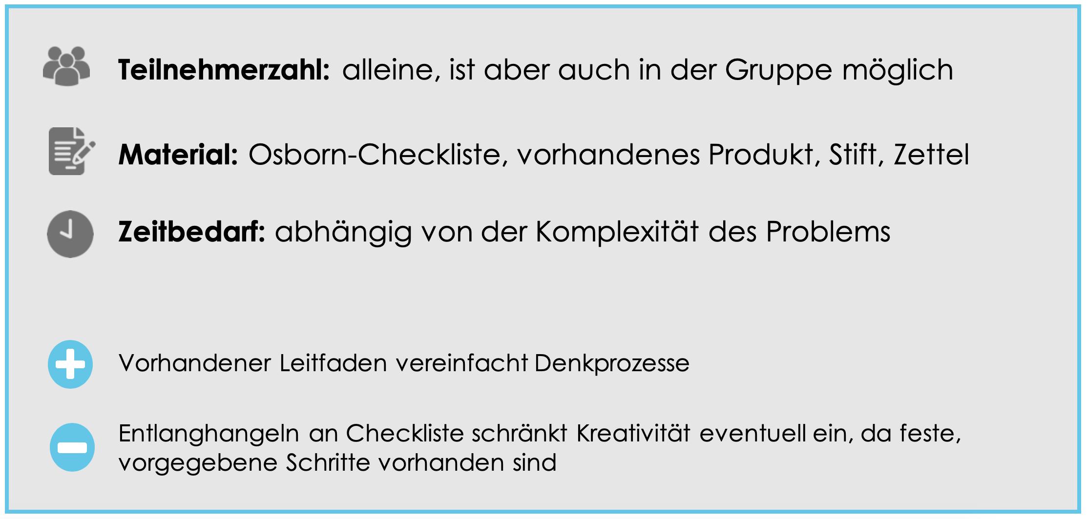 Kreativitätstechnik für Einzelpersonen: Osborn-Checkliste