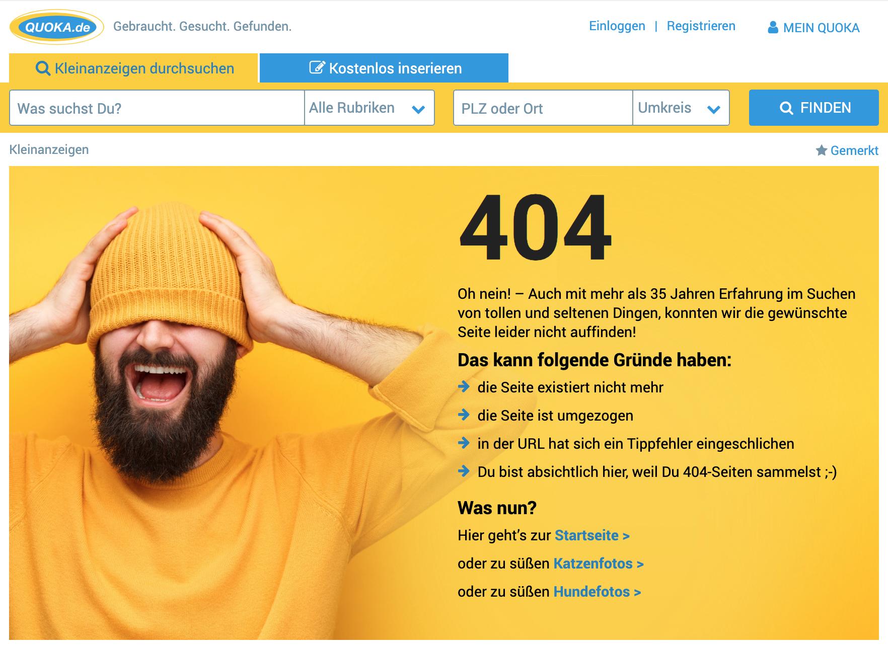 404-Seite von quoaka.de