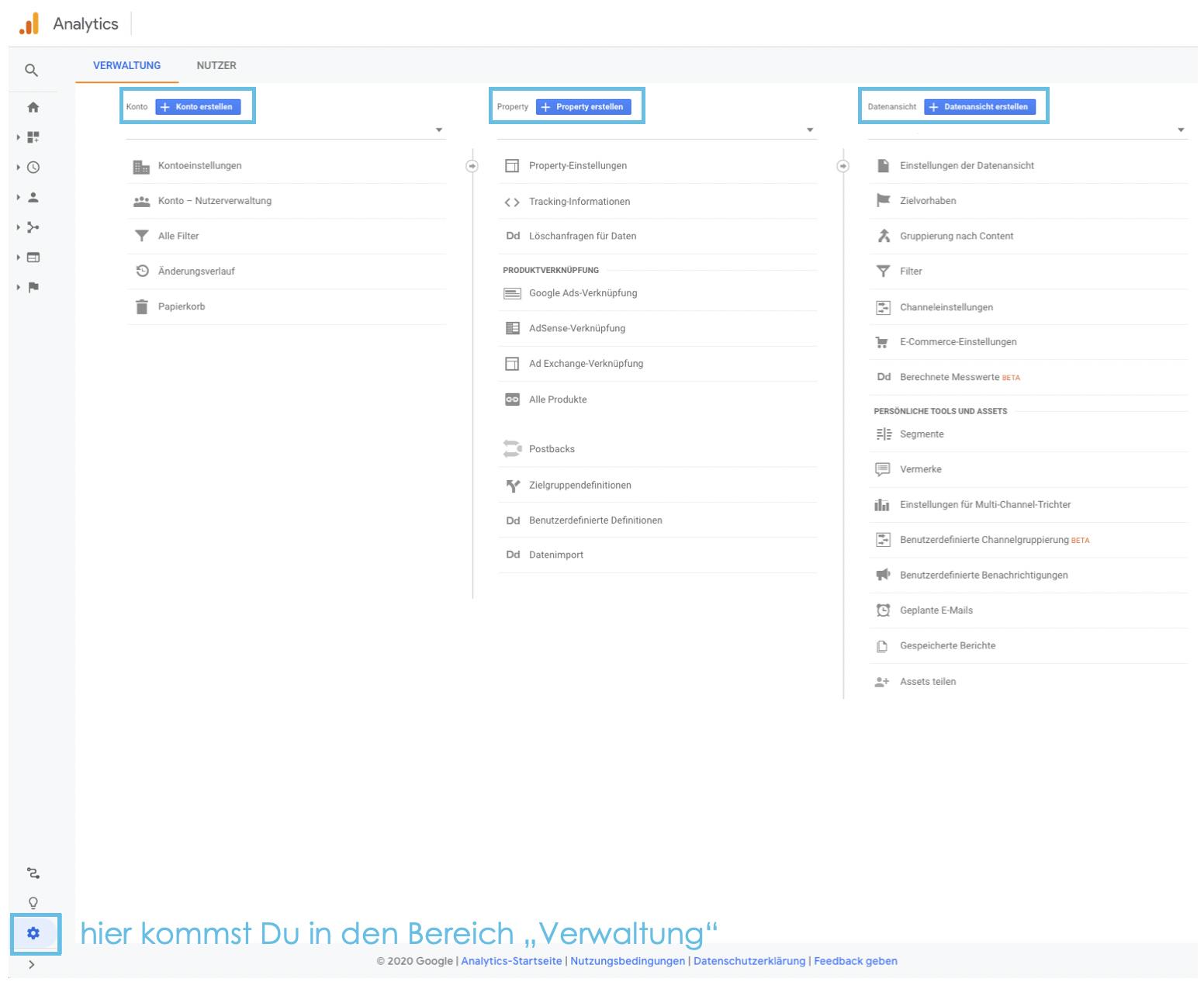 Verwaltung der einzelnen Ebenen im Google Analytics Konto