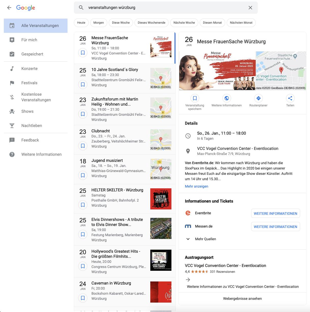 Veranstaltungen in den Suchergebnissen von Google
