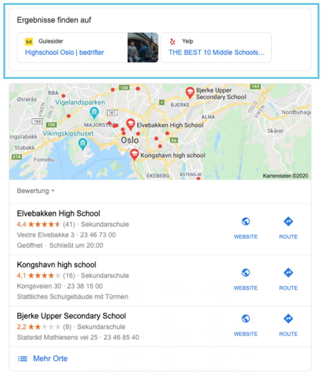 """Local SERPs zur Suche """"High School Oslo"""""""