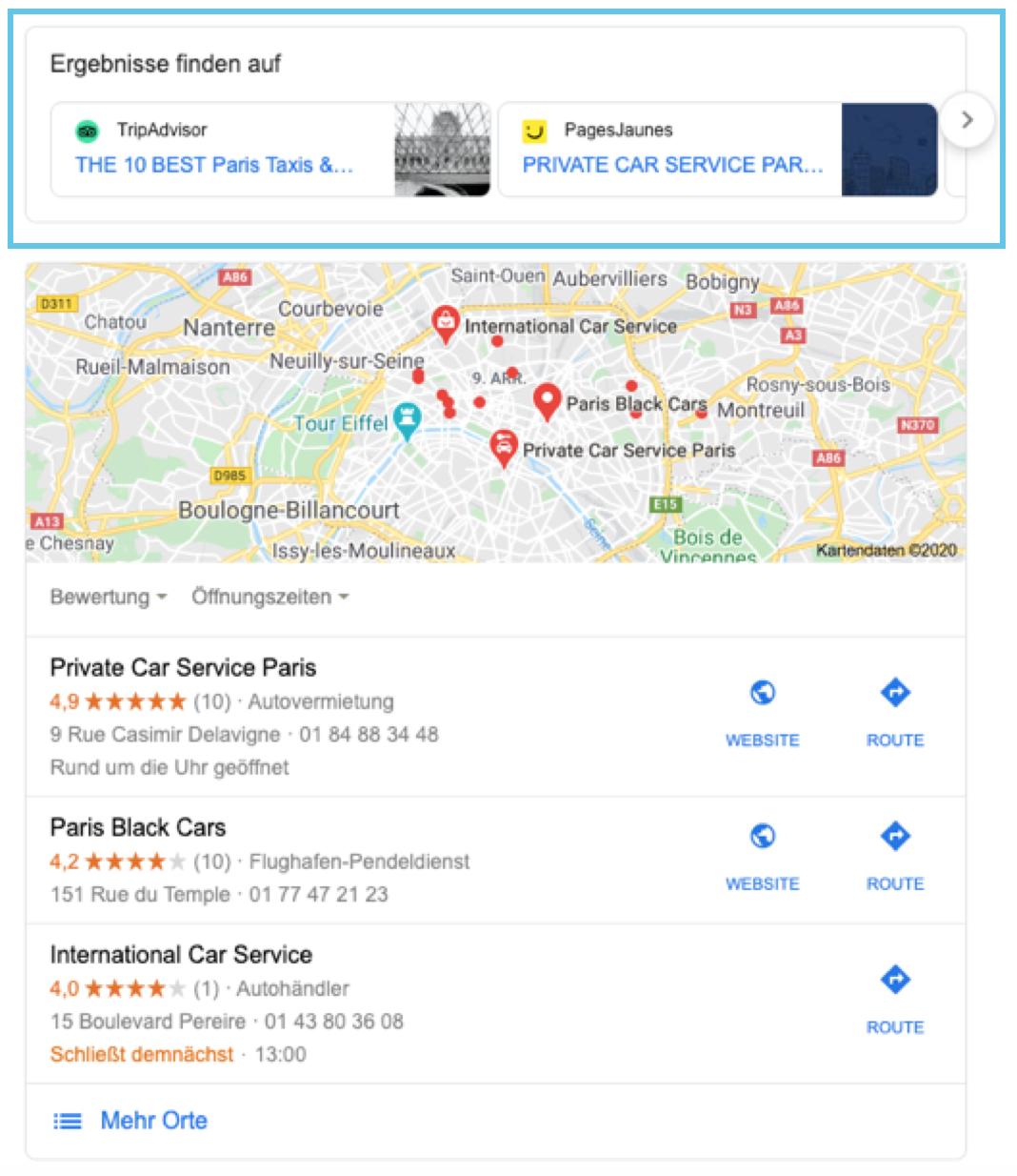 """Karussell-Anzeige in den Local SERPs zur Suchanfrage """"Car Service Paris"""""""