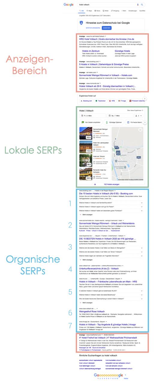 Anzeige von nur noch 7 SERPs der ersten Suchergebnisseite nach der Neuerung