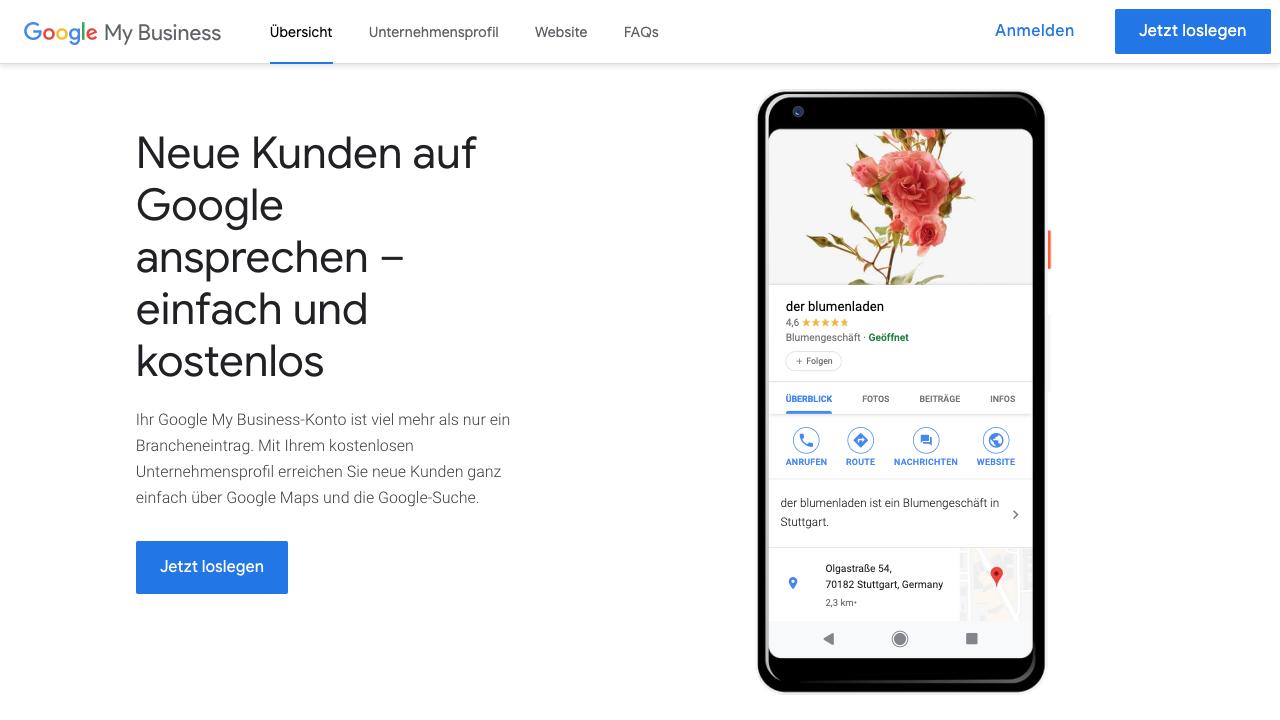 Das Bild zeigt einen Screenshot der Google My Business Startseite. Hier findest Du nicht nur die Möglichkeit Dich anzumelden (rechts oben), sondern kannst ebenfalls auch komplett neu starten. Hierfür findest Du Buttons sowohl rechts oben aus auch in der Mitte des Bildes.