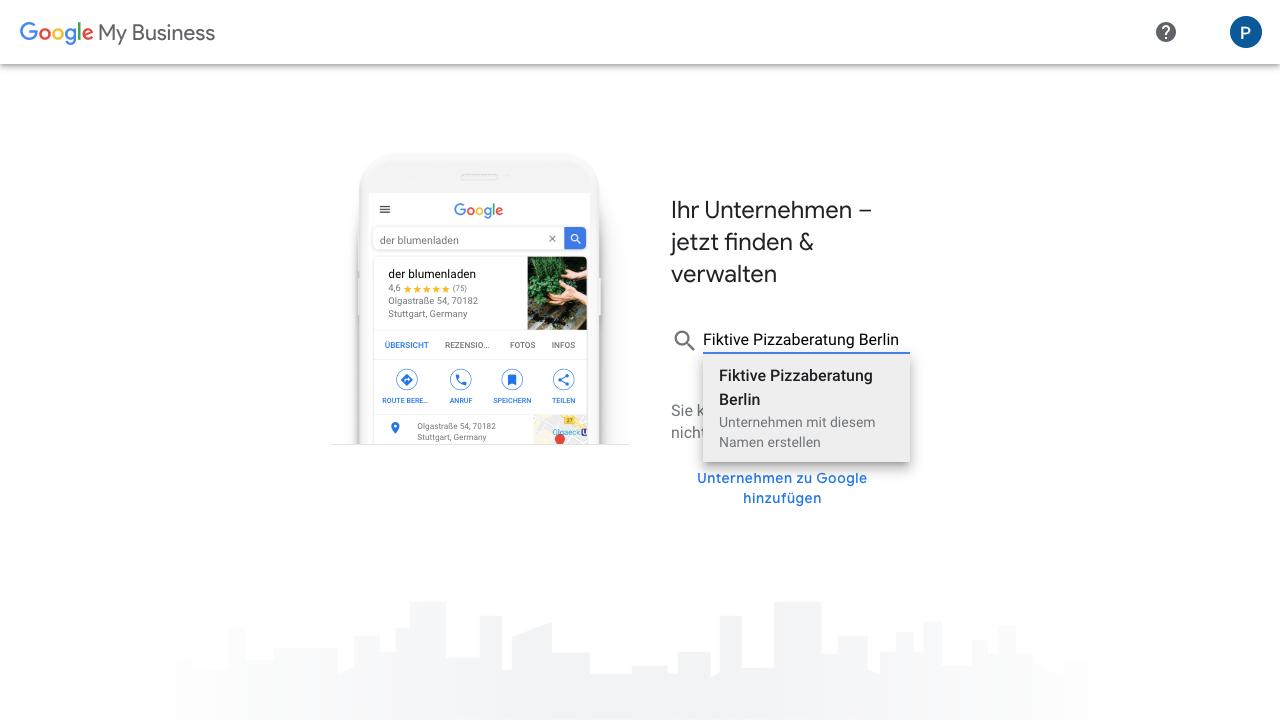 """Hast Du den Button """"Jetzt loslegen"""" auf der Startseite von Google My Business geklickt, beginnst Du Dein Google My Business-Profil anzulegen. Im ersten Schritt füllst Du deshalb hier das leere Feld mit dem Namen Deines Unternehmens. Ist Dein Unternehmen noch nicht bei Google vertreten, kannst Du dies über """"Unternehmen zu Google hinzufügen"""" tun."""