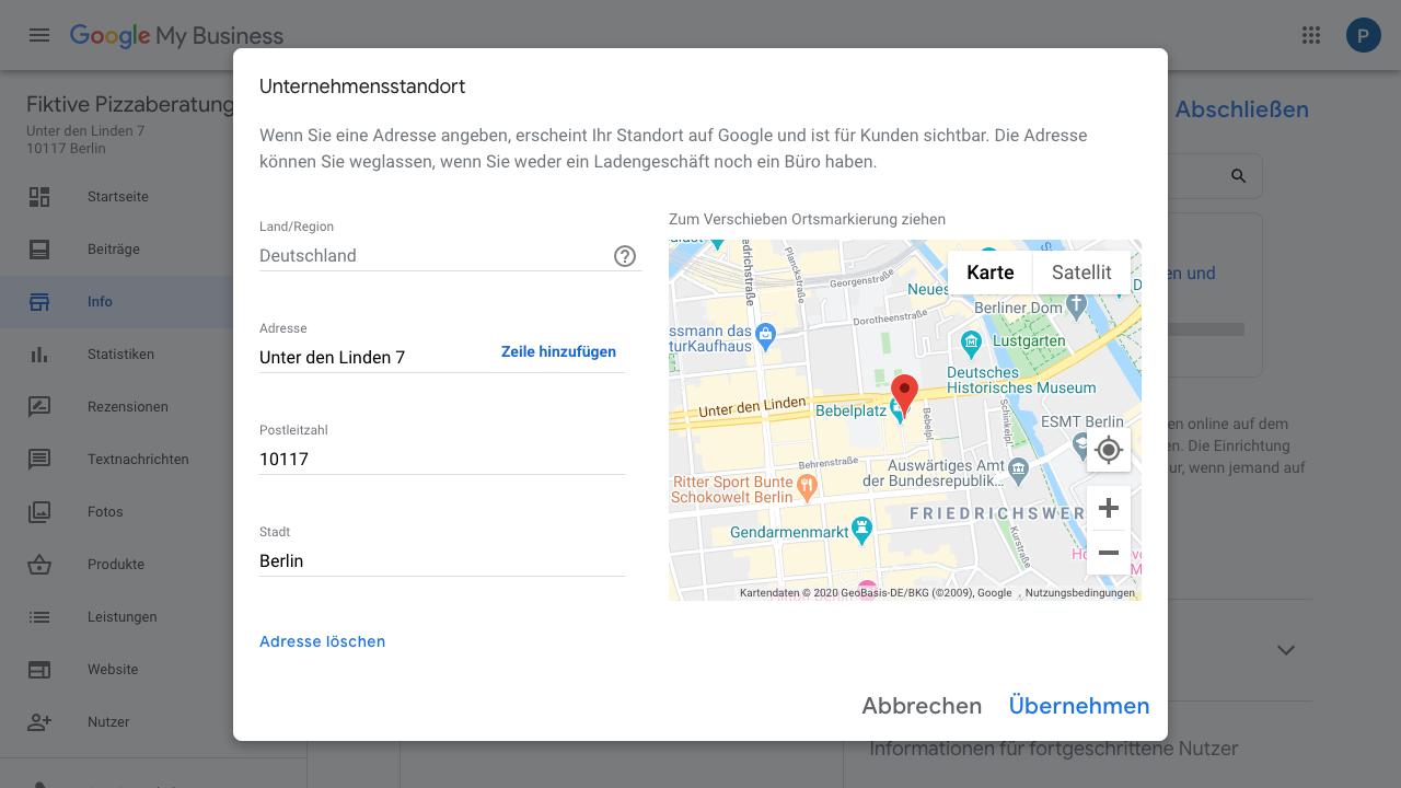 """Der Screenshot zeigt Einblicke in den Reiter """"Info"""" im Google My Business-Konto. In diesem Bereich kannst Du unter anderem den Unternehmensstandort anpassen."""