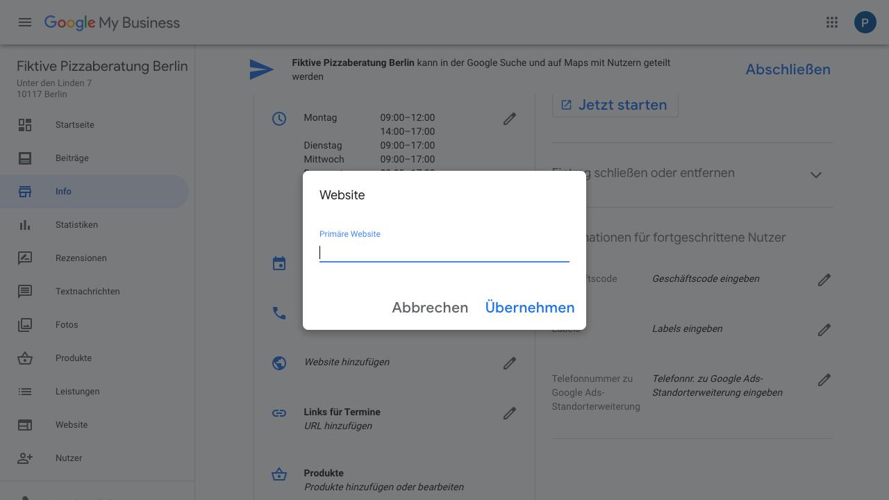 """Der Screenshot zeigt Einblicke in den Reiter """"Info"""" im Google My Business-Konto. In diesem hast Du die Möglichkeit Deine Website-URL zu hinterlegen."""