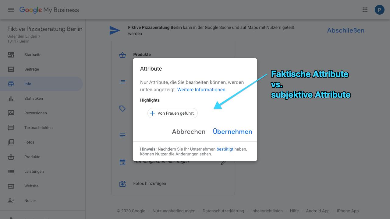 """Der Screenshot zeigt Einblicke in den Reiter """"Info"""" im Google My Business-Konto. Hier hast Du die Möglichkeit Attribute hinzuzufügen. Diese können faktische Attribute, aber auch subjektive Attribute sein, wie """"Black-owned Business"""", """"Von Frauen geführt"""", usw."""