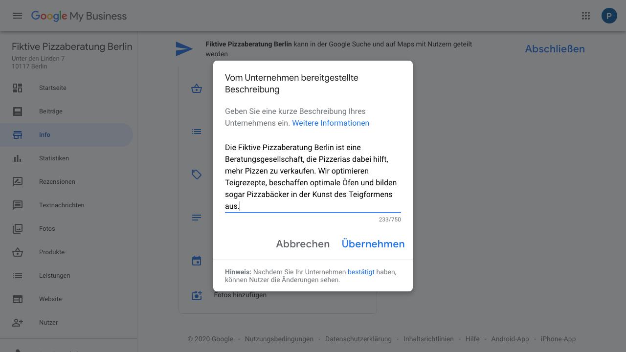 """Der Screenshot zeigt Einblicke in den Reiter """"Info"""" im Google My Business-Konto. Hier hast Du die Möglichkeit Dein Unternehmen in 750 Zeichen zu beschrieben."""