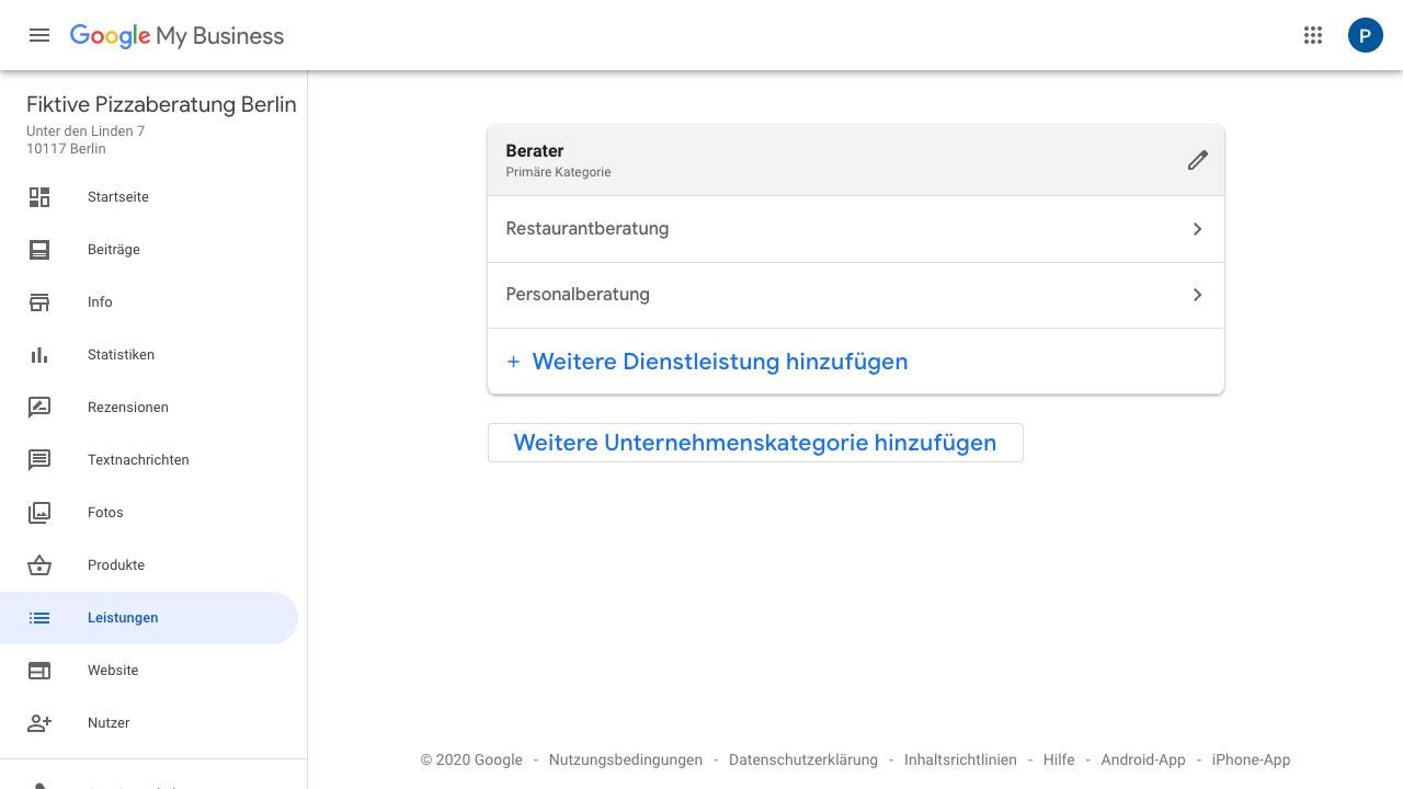 """Der Screenshot zeigt Einblicke in das Google My Business Dashboard. Hier findest Du verschiedene Reiter wie: - Startseite - Beiträge - Info - Statistiken - Rezensionen - Textnachrichten - Fotos - Produkte - Leistungen - Website - Nutzer - uvm.  Im Reiter """"Leistungen"""" hast Du die Möglichkeit Deine Dienstleistungen in Deinem Profil einzugliedern."""