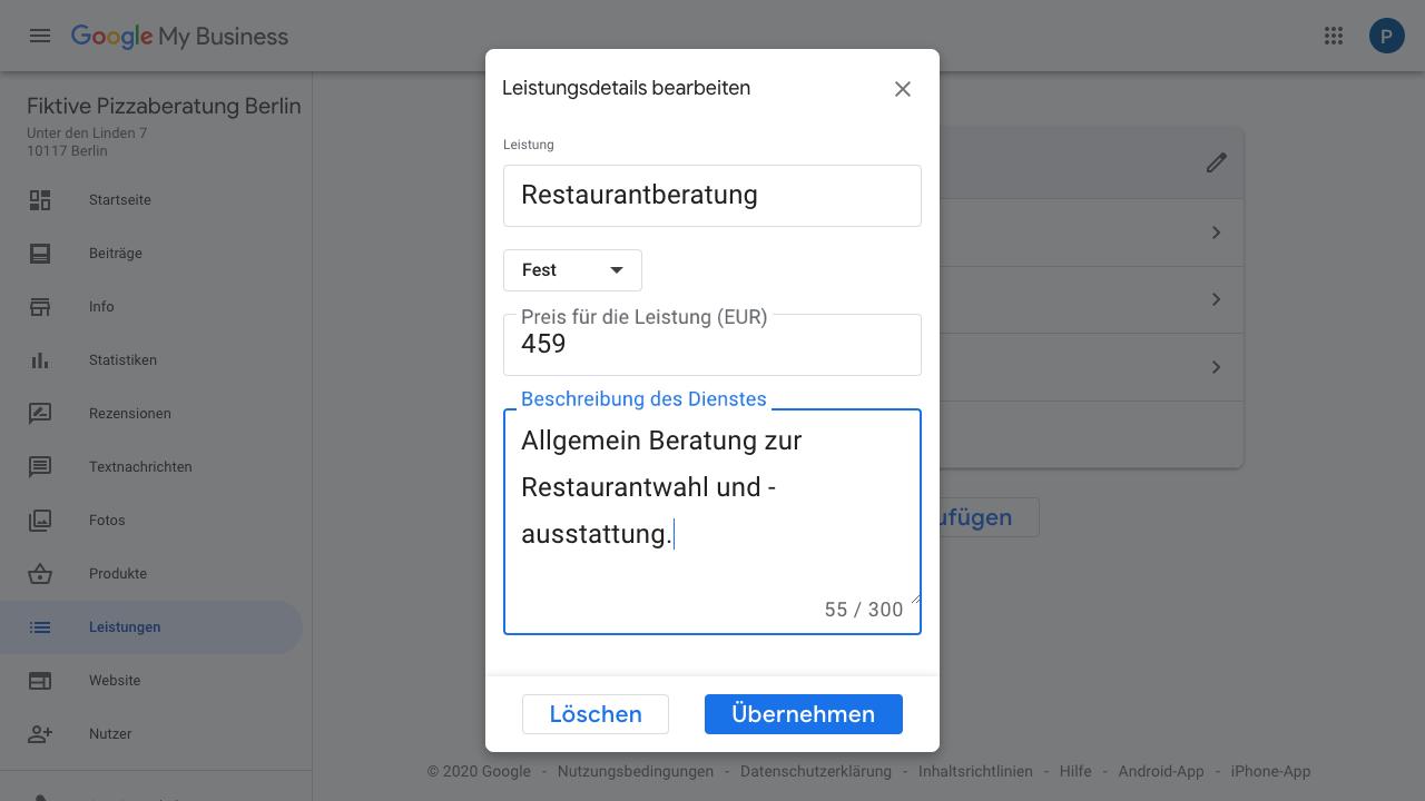 """Der Screenshot zeigt einen Ausschnitt des Google My Business-Kontos. Hierbei befinden wir uns im Bereich """"Leistungen"""" und haben bereits eine Leistung angelegt. Im Screenshot bekommst Du einen Einblick, wie Du Leistungsdetails einfügst. Hierzu gehören neben einer Benennung der Leistung selbst auch ein Preis und eine Beschreibung des Dienstes."""