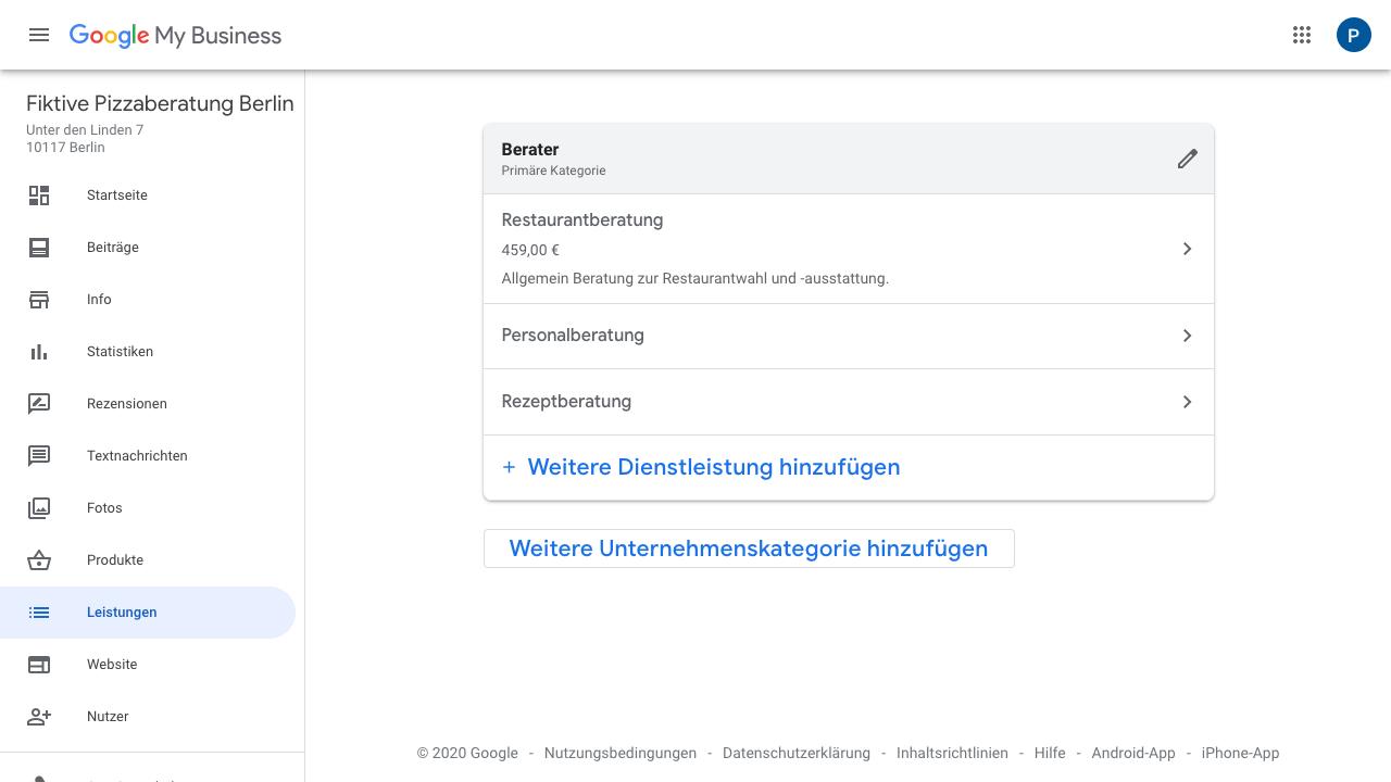 Der Screenshot zeigt eine fertig erstellte Leistung im Google My Business-Account. Hierbei kannst Du weitere Dienstleistungen oder Unternehmenskategorien hinzufügen. Außerdem siehst Du hier bereits angelegte Leistungen mit (falls vorhanden) Leistungsdetails.