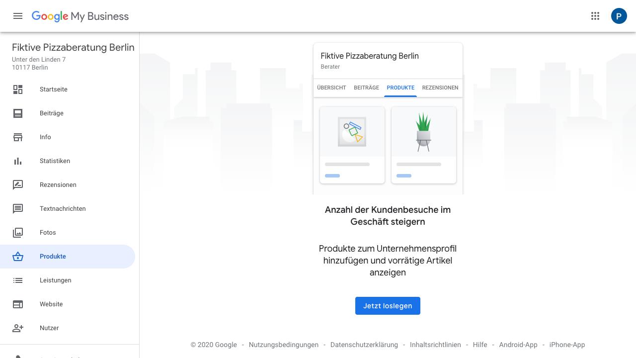 """Der Screenshot zeigt Einblicke in das Google My Business Dashboard. Hier findest Du verschiedene Reiter wie: - Startseite - Beiträge - Info - Statistiken - Rezensionen - Textnachrichten - Fotos - Produkte - Leistungen - Website - Nutzer - uvm.  Im Reiter """"Produkte"""" kannst Du verschiedene Produkte zu Deinem Unternehmensprofil hinzufügen und anzeigen lassen, wie viele Artikel davon noch vorrätig sind."""