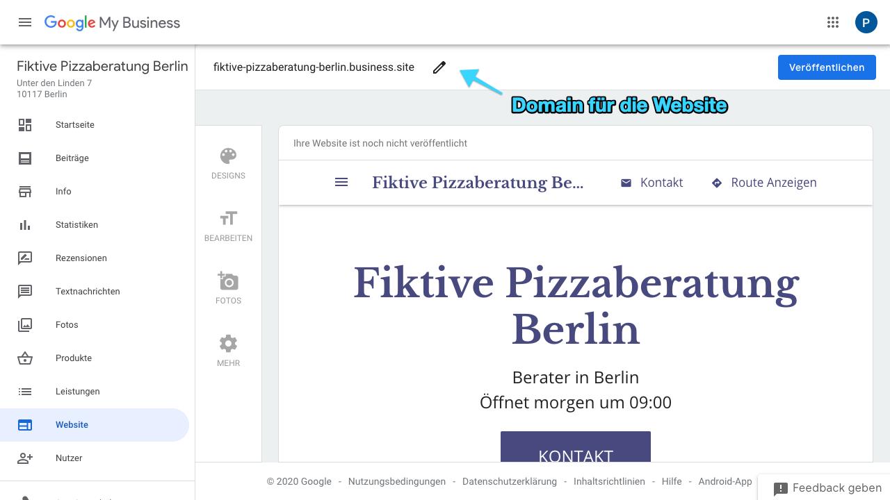"""Der Screenshot zeigt Einblicke in das Google My Business Dashboard. Hier findest Du verschiedene Reiter wie: - Startseite - Beiträge - Info - Statistiken - Rezensionen - Textnachrichten - Fotos - Produkte - Leistungen - Website - Nutzer - uvm.  Über den Reiter """"Website"""" kannst Du für Deine Seite eine Website anlegen, sofern Du noch keine besitzt. Im Screenshot siehst Du deshalb einen Prototypen einer Website. Über den Stift, welcher sich oben mittig befindet, kannst Du die Domain für Deine Website festlegen."""