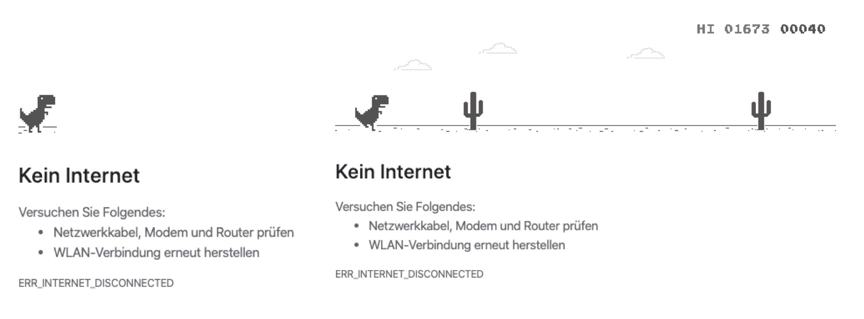 Das Bild zeigt einen Screenshot des Google Chrome Jump & Run-Spiels, das gestartet wird, wenn der Browser keine Internetverbindung aufbauen kann. Mithilfe der Leertaste startet man das Jump & Run-Spiel - der T-Rex setzt sich in Bewegung und muss verschiedenen Hindernissen ausweichen.