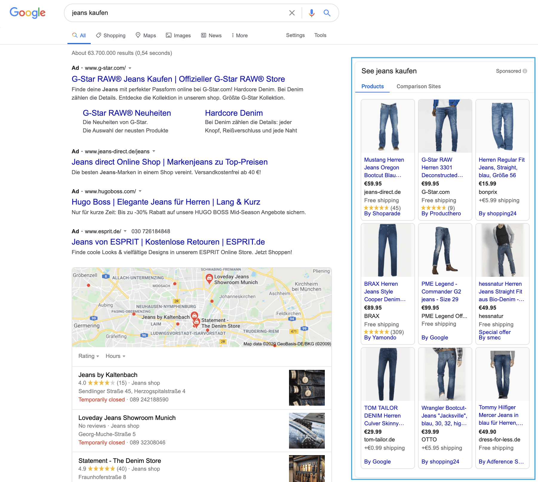 """Für die Suchanfrage """"Jeans kaufen"""" werden in der rechten Spalte Google Shopping Anzeigen ausgespielt."""