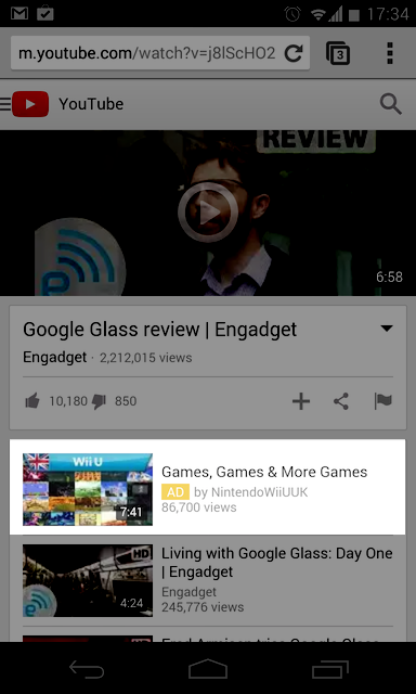 Zu sehen ist ein beispielhafter einer YouTube Discovery-Anzeige. Hier findest Du die Ad im Feed mit ähnlichen Videos. Quelle: Google Support