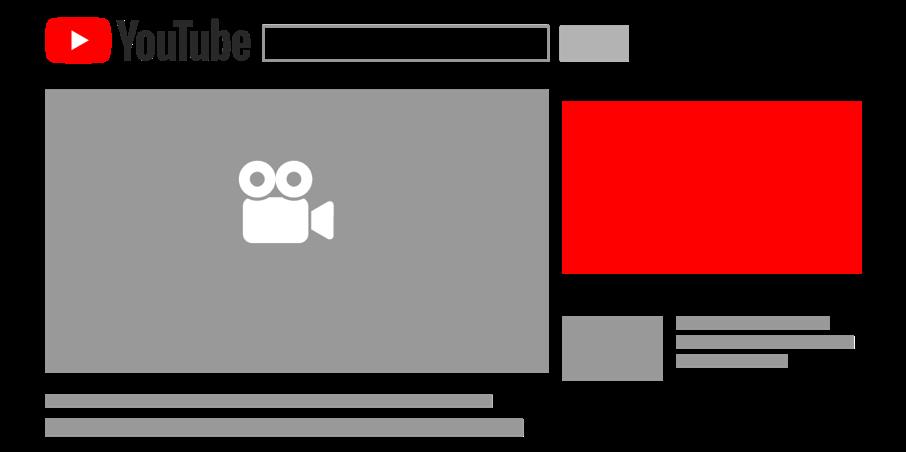 Die Grafik zeigt eine schematische Platzierung einer Video Discovery-Anzeige. Diese wird vor dem Abspielen in der Leiste neben Videos, in YouTube Suchergebnissen, auf der Such- und Wiedergabe-Seite der mobilen YouTube Homepage oder auf der Startseite der YouTube App ausgespielt.