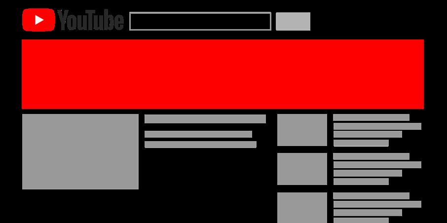Die Grafik zeigt eine schematische Platzierung einer Masthead-Anzeige. Diese findest Du oberhalb der Videos.