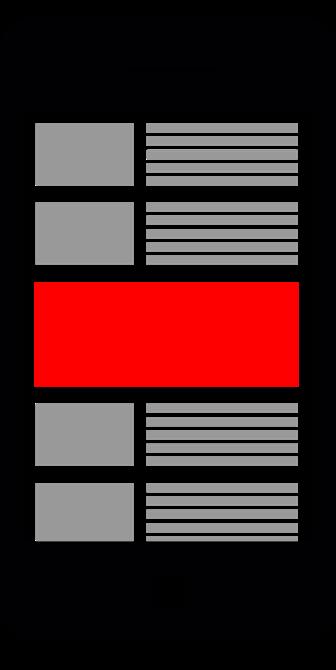 Die Grafik zeigt eine schematische Platzierung einer Out-Stream-Anzeige. Diese Ad-Form wird vor allem auf Seiten und in Apps von Partnern der Videoplattform angezeigt