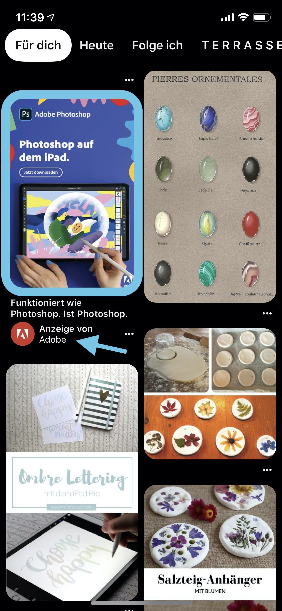 Beispiel einer Pinterest Ad von Adobe