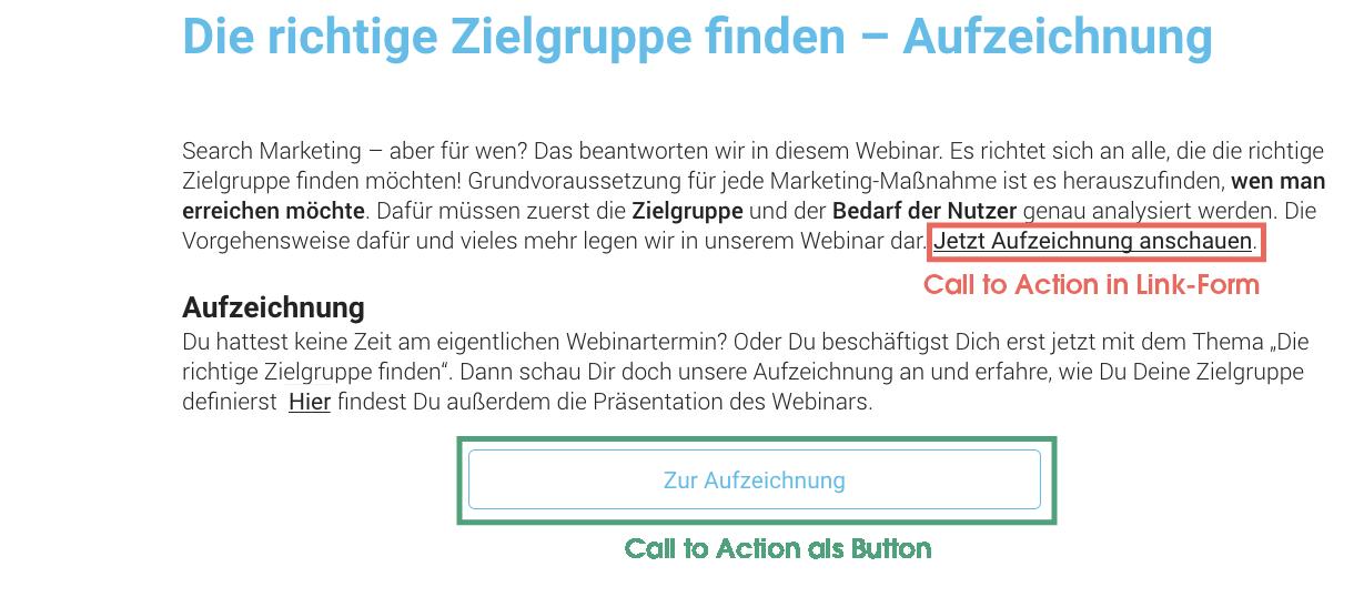 Darstellung eines Call to Action in Link-Form und als Button