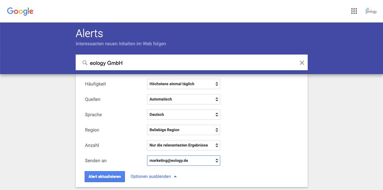 Im Screenshot siehst Du die Möglichkeit, wie Du einen Alert bearbeiten bzw. aktualisieren kannst. Hierfür hast Du die folgenden Möglichkeiten: - Häufigkeit - Quellen - Sprache - Region - Anzahl - Senden an
