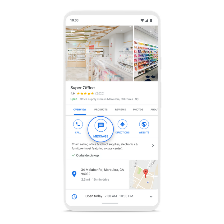 Die Erweiterung des Google My Business-Profils um den Message-Button, © Google