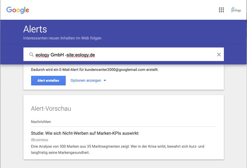Der Screenshot zeigt Dir die Möglichkeit Deinen Alert mithilfe von Suchoperatoren anzupassen und zu verfeinern.
