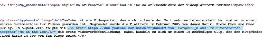 So sieht der Seitenquelltext des Abschnitts Geschichte der Videoplattform YouTube aus
