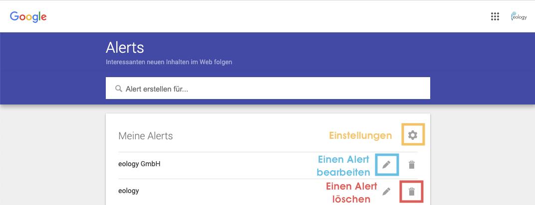 Der Screenshot zeigt Dir eine Übersicht Deiner bereits eingestellten Alerts. Außerdem sind die Funktionen Einstellungen (gelb), Bearbeiten (blau) und Alert löschen (rot) markiert.