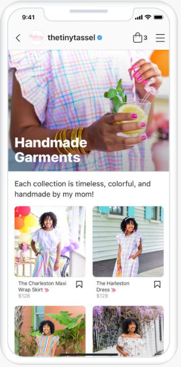 Möglicher Aufbau eines Instagram/Facebook Shops, © Facebook