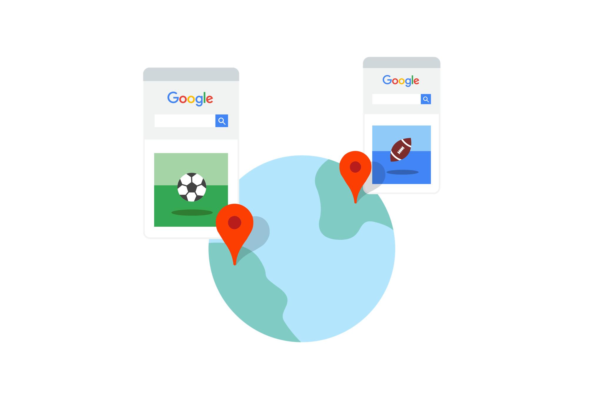 Die Wichtigkeit des Standortbezugs bei einer Google Suchanfrage –Football beschriebt in Amerika oder Europa komplett unterschiedliche Sportarten