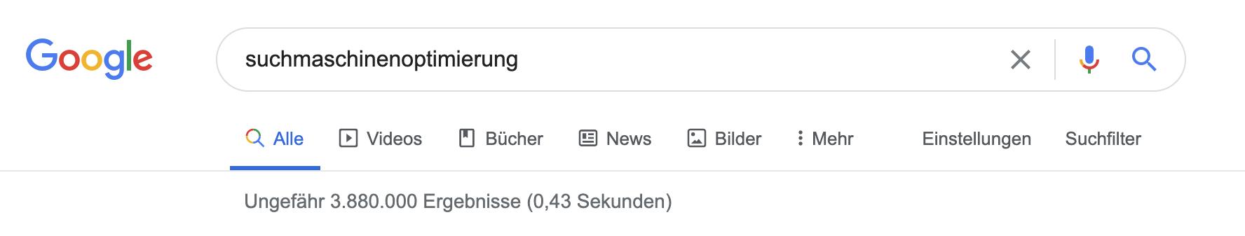 """Für das Durchsuchen des Index nach dem Schlagwort Suchmaschinenoptimierung"""" benötigt Google nicht mal eine halbe Sekunde und liefert daraufhin knapp 4 Millionen Ergebnisse."""