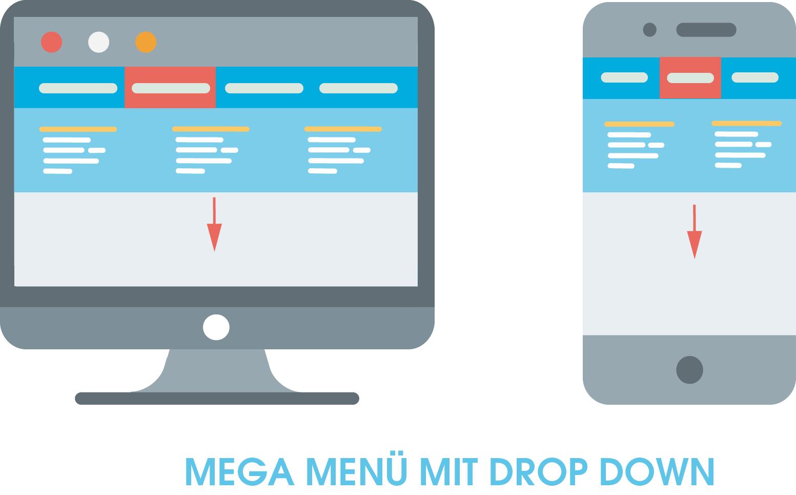 """Darstellung eines Mega Menüs mit Drop Down. Hier zu sehen ist ein Mega Menü als eine Möglichkeit eine horizontale Navigation einzusetzen. Die Drop Down-Funktion des Menüs zeigt sich darin, dass ein Teil der Navigation aus dem unsichtbaren Bereich """"unterhalb"""" des vertikalen Menüs herunterfährt, wenn der Nutzer das Menü verwendet."""