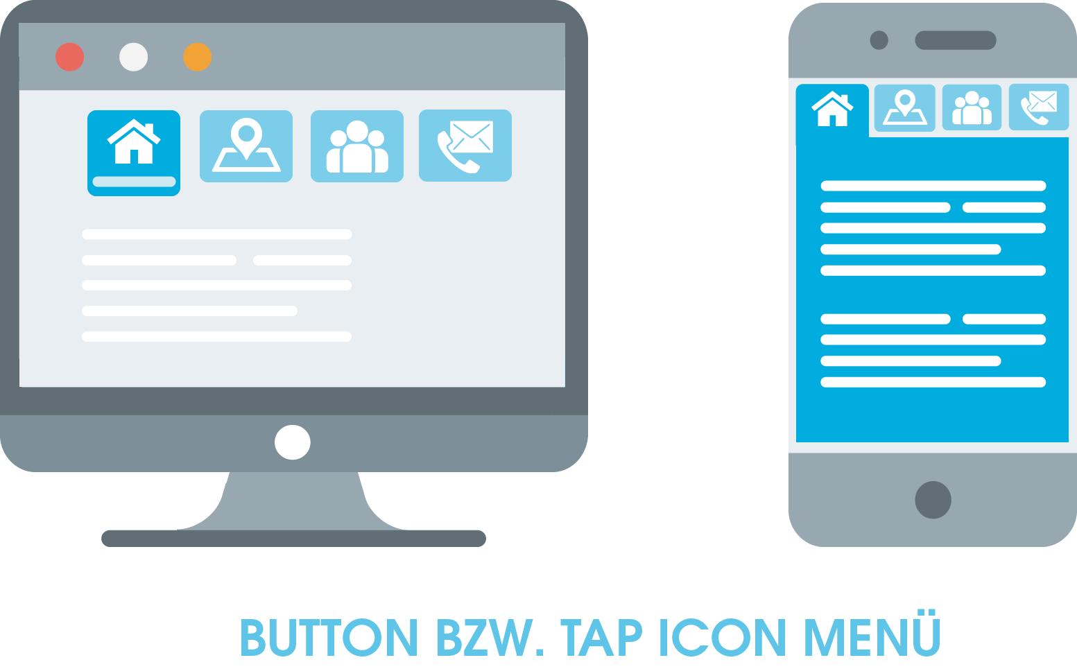 Zu sehen ist ein Button bzw. Tap Icon Menü, das zu den horizontalen Menüs gehört. Es zeichnet sich dadurch aus, dass sich das Menü für genau das Icon vergrößert, das der Nutzer anklickt.