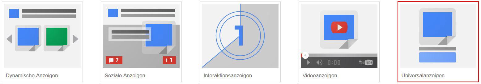 Dies sind die verschiedenen Arten von Display-Anzeigen, auf die Du zurückgreifen kannst:  1. Dynamische Anzeigen 2. Soziale Anzeigen 3. Interaktionsanzeigen 4. Videoanzeigen 5. Universalanzeigen
