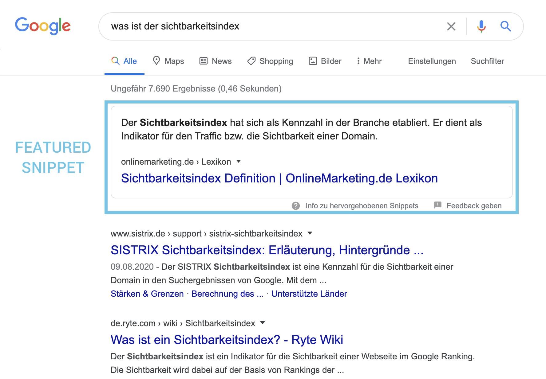 Beispiel eines Featured Snippets in den Google SERPs