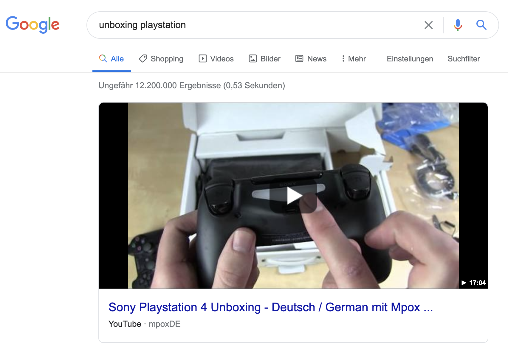 Beispiel eines Video-Featured Snippets
